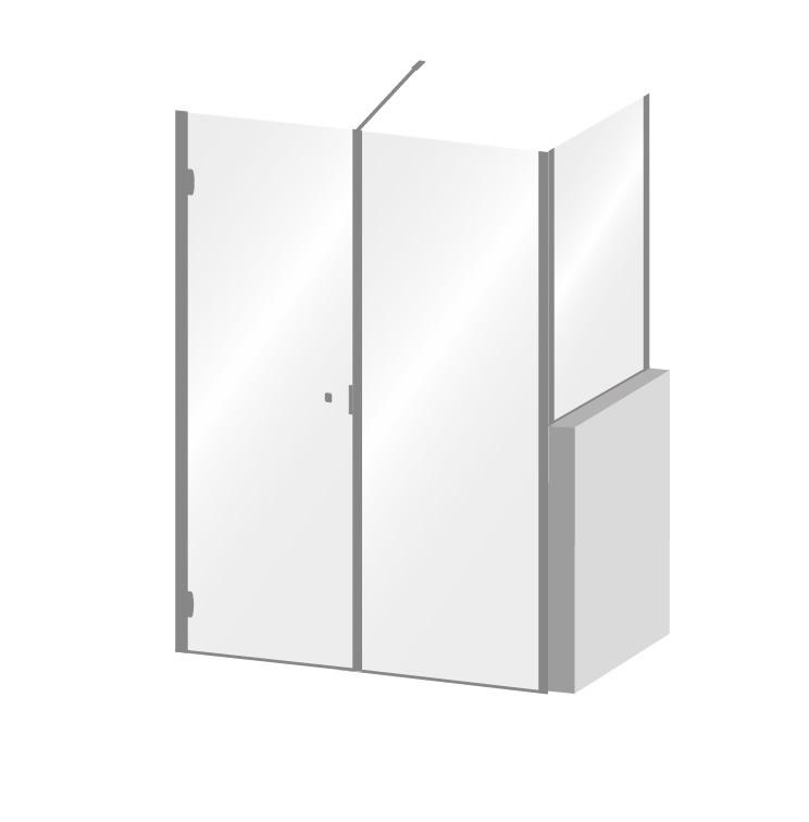 paroi de douche avec cot fixe sur muret calibe. Black Bedroom Furniture Sets. Home Design Ideas