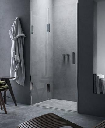 porte de douche en niche avec ouverture pliant calibe. Black Bedroom Furniture Sets. Home Design Ideas