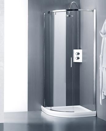 cabine de douche porte coulissante avec verre courb leak free calibe. Black Bedroom Furniture Sets. Home Design Ideas
