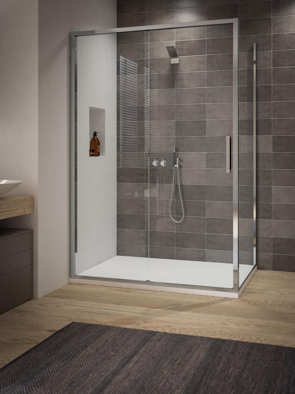 Paroi de douche avec porte coulissant 3 cot s calibe - Cabine de douche 3 cotes vitres ...
